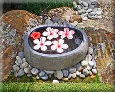 a pretty little discovery for the garden Balinese Garden, Stone Bowl, Garden Accessories, Pretty Little, Natural Stones, Lush, Discovery, Concrete, Landscaping