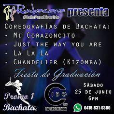 Este sábado presentamos ocho coreografías. Cuatro de ellas son: - Mi Corazoncito (Tributo a #atacaylaalemana) - Just the way you are - La la la (Tributo a #DanielyDesiree) - Chandelier (Kizomba) Fiesta de Graduación Promo1 #Bachata Sábado 25 de junio CIBO LA CASTELLANA #Rumbacana #BailaParaDivertirte #SalsaCasino #Merengue #Kizomba #SalsaEnLinea #Caracas #Venezuela