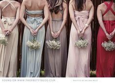 Keep it fresh and keep it interesting with these totally awesome bridesmaid looks. Best Prom Dresses, Prom Party Dresses, Wrap Dresses, Bridesmaids And Groomsmen, Wedding Bridesmaid Dresses, Bridesmaid Inspiration, Wedding Inspiration, Wedding Ideas, Wedding Pics