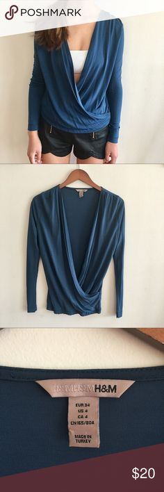 [h&m] draped turquoise top Beautiful draped top from h&m. Size 4 but fit us perfectly well. Wear a bandeau or bralette underneath. 100% viscose. Great used condition H&M Tops Blouses