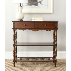 @Overstock.com - Safavieh Fiona Dark Brown Console Table - Although the Fiona console might feel at home in the corner of an Edwardian study, it brings the same heirloom aesthetic to any home with its solid birch wood in vintage reclaimed finish and sculpted decorative flourishes.  http://www.overstock.com/Home-Garden/Safavieh-Fiona-Dark-Brown-Console-Table/7827743/product.html?CID=214117 $221.99