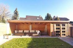 -23- Maatwerk balklaag tuinhuis met veranda overkapping luifel op maat met plat dak en overstek van lariks douglas en eiken hout wijchen nijmegen: