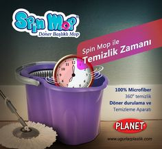 """#SpinMop ile Temizlik Zamanı: 360 Derece dönebilen başlığı , basit ve pratik kullanımı ile yepyeni bir ürün. İleri teknoloji ile üretilmiş planet """"Spin Mop"""" Mikrofiber liflerden oluşur. Paspası %100 mikrofiberdir.  Benzersiz temizlik gücü olan """"SpinMop"""" tüm yüzeyleri çizmeden temizler.  Ayrıntılı teknik bilgi için lütfen sitemizi ziyaret ediniz    http://www.ugurlarplastik.com"""