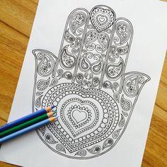 Hamsa Love Hand Drawn Adult Colouring Print by MauindiArts