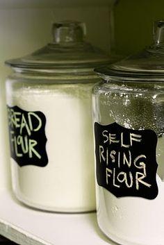 Chalkboard Labeled Flour/Sugar, etc. Cannisters@Melissa Dark