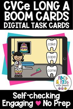 Make learning CVCe long a words fun with this dentist themed Boom Cards digital activity! These task cards can be used in a virtual setting or in the classroom. Great for intervention, small groups, or literacy and technology centers. Students will listen to the word (audio included!) and then drag the toothbrush to the matching long vowel, silent e words. First Grade Words, Long A, Task Cards, Small Groups, Phonics, Cool Words, Curriculum, Literacy, Students