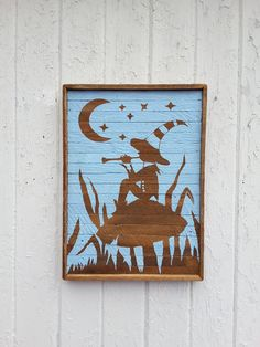 Wood Wall Art Silhouette Elf Flute Player Natural by PastReclaimed