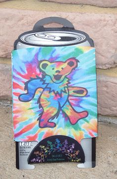 Grateful Dead Tie Dye Dancing Bear Can Cooler Huggie NEW via deadaheadgifts
