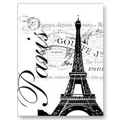Vintage París y etiqueta de la torre Eiffel Postales