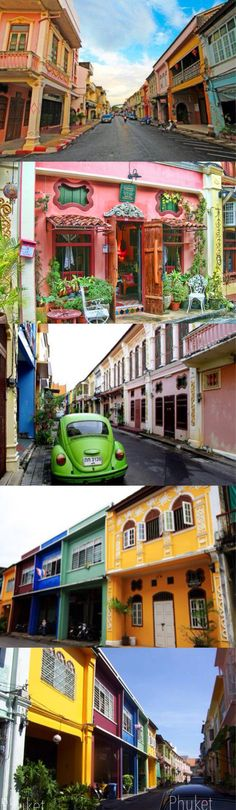 Phuket town, the old Sino Portugese buildings. Thailand looks so colourful and beautiful!