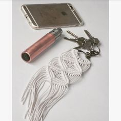 **IN STOCK** Size is approximately: Keychain hook: 4 cm (1,5) Ring: 3.5cm (1,3) Macrame: 20 cm (7,8) L x 6 cm (2,3) W Material: Cotton rope Colour: Natural If you have any questions or request dont hesitate to contact us. ............................................................................................................................ https://www.etsy.com/shop/AncestralStore INSTAGRAM: @ancestral.co *All of the keychains are shipped consolidates with ot...