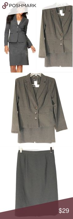 Spago Gray Striped Skirt Suit with Jacket Spago Gray Striped Skirt Suit with Jacket   New with tags.  100% polyester.  Size 8.  Jacket has three buttons. 21 inches long. Chest measures 20 inches across from armpit to armpit.   Skirt is 24.5 inches long. Side elastic. Back zipper. Kick plate. Waist measures 14 inches across from side to side and will comfortably stretch to 15.5 inches across.   First picture with model is not the actual item but similar.  All other pics are the actual item…