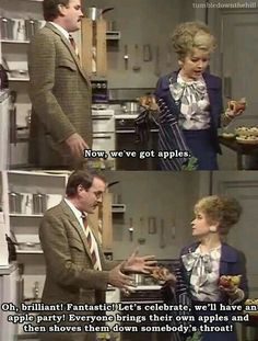 Fawlty Towers How to make a waldorf salad. This reminds me of high school Brit lit class ❤ Comedy Series, Comedy Tv, Tv Series, British Sitcoms, British Comedy, English Comedy, Fawlty Towers, Laugh Track, British Humor
