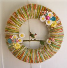 Bird Candy Yarn Wreath