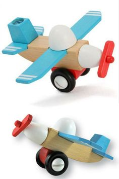Zoom away on a new adventure! This 13 piece plane is help together with 4 oversized screws tightened with an oversized child friendly screwdriver. Clever indeed. Child Friendly, New Adventures, Planes, Boats, Clever, Gift Wrapping, Trucks, Building, Kids