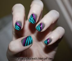 Nails Purple Black Dark 57 Ideas For 2019 Fabulous Nails, Perfect Nails, Fancy Nails, Trendy Nails, Hot Nails, Hair And Nails, Dark Nails, Tiger Stripe Nails, Zebra Nails