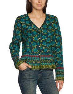 LANA natural wear Damen Strickjacke, geblümt 132 2014 4400 Jacke Linsay, Gr. 40/42 (M), Blau (3388 Linsay darkslate / lapis): Amazon.de: Bekleidung