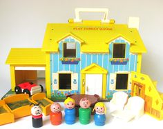 Vintage Fisher Price Family Play House- have these at my grandparents' house!!