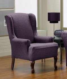 Furniture. purple linen wingback chair slipcover and curved brown polished wooden legs on laminate flooring, Beautiful Linen Wingback Slipcovers Brings Mesmerizing Looks