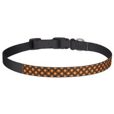 Orange and Black Squares Pet Collar - diy cyo customize create your own personalize