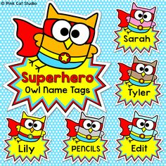 Your classroom door, bulletin boards and lockers will be the talk of the school when you use these fun superhero owls name tags and labels to decorate!