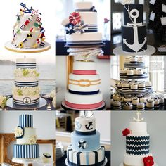 Nautical wedding cake inspiration. Or for anything else, I just love nautical anything