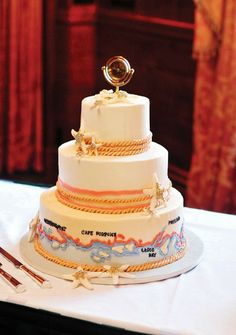 We love the nautical theme and creative cake topper! Baker: Let Them Eat Cake. Photo: Justine Johnson Photography