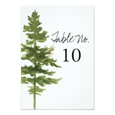 #monogrammed - #Rustic Ombre Watercolor Forest Weddin Table Number