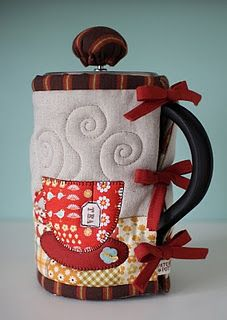 quilted cozy for French press coffee pot.