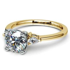 Pear perfection: Closely similar to the iconic solitaire, exude understated elegance with the delicately beautiful Pear Diamond Ring in Yellow Gold! http://www.brilliance.com/engagement-rings/pear-diamond-ring-yellow-gold