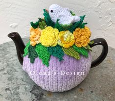 Crochet tea cozy violet tea cover roses cosy warmer yellow rose white dove bird kitchen accessory décor Easter Bridal shower Wedding gift https://www.etsy.com/listing/593177895/crochet-tea-cozy-violet-tea-cover-roses?ref=shop_home_active_45