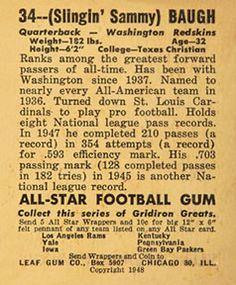 1948 Leaf 34 Sammy Baugh (back)
