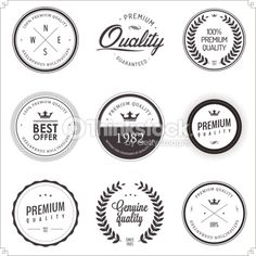 Vector Art : Set of vintage monochrome retail labels and badges