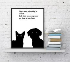 Dog with cat print Cat quotes Dog quotes by InstantDownloadArt1