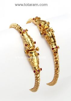 22K Gold Kada - Set of 2 (1 Pair): Totaram Jewelers: Buy Indian Gold jewelry & 18K Diamond jewelry