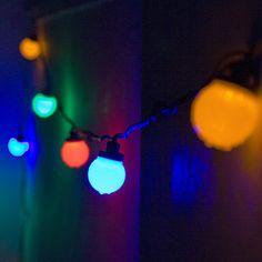 Festoon Party Lights 10 Multi Coloured LEDs On Black Cable £22.95   Huge Discounts - Lights4fun.co.uk
