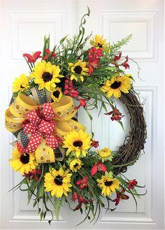 Sunflower Wreath Summer Sunflower Wreath Rustic Sunflower