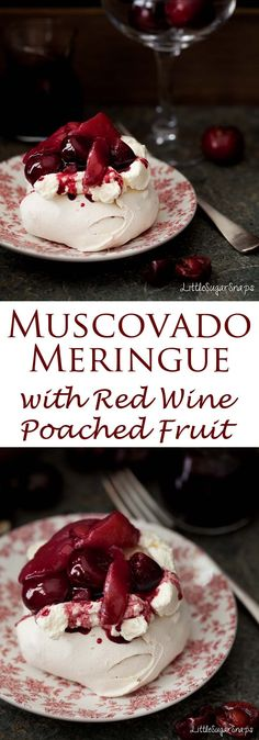 Muscovado Meringue is sweet with notes of honey and caramel. A crisp shell yields to a soft gooey centre. Served alongside whipped cream and cherries & pears poached in red wine, it makes a spectacular feast of a dessert