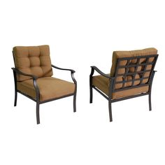 Shop Garden Treasures Set of 2 Eastmoreland Brown Steel Patio Chairs at Lowes.com