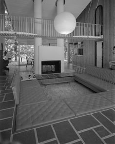 Architect Harry Weese's residence in Barrington, Illinois, features a conversation pit and a catwalk that connects the upper level. Photograph by William S. Engdahl for Hedrich-Blessing, September 29, 1959 To purchase a copy E-mail...