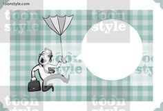 Greeting card with businessman falling with umbrella – personalize your card with a custom text