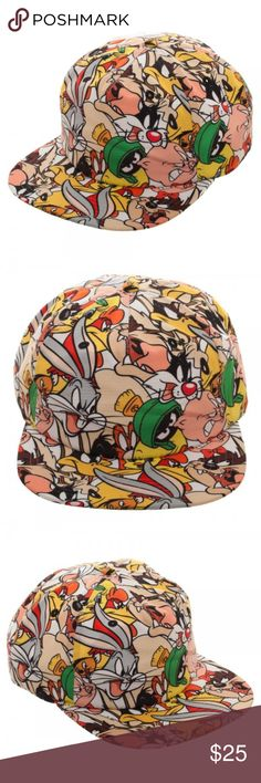 Looney Tunes Characters Sublimated Snapback Hat This very nice hat is officially licensed from Bioworld.  It features sublimated images of many of the characters from Looney Tunes.  The hat is size adjustable.    Characters on hat: Bugs Bunny, Marvin the Martian, Sylvester, Tweety, Taz, Wile E Coyote, Porky Pig.. a few more!  Style: Snapback Hat  Size:  Adjustable - One Size Fits Most Adults Brand: Bioworld  Intended for Ages 14 and Up.  CONDITION - New  Check my Posh for more Looney Tunes…