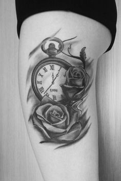 tattoo clock and roses