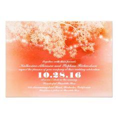 Coral string lights wedding invitation