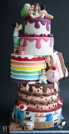 Cake I love this baking a cake design. Pretty Cakes, Cute Cakes, Beautiful Cakes, Yummy Cakes, Amazing Cakes, Fancy Cakes, Unique Cakes, Creative Cakes, Creative Birthday Cakes