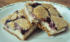 Blackberry Cheesecake Bars with Sugar Cookie Crust.  These are so simple & so delicious!  #FlourMeWithLove #cheesecake #blackerry #bars