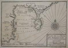 """Plan de la Baye de Gibraltar Descrizione Carta nautica tratta dal raro """"Recueil de Plusieurs Plan de Ports et Rades de la Mer Mediterranée.."""", atlante nautico contenenti i piani dei principali porti del Mediterraneo Occidentale.Henry MICHELOT & Laurent BREMOND (Marsiglia - 1730 circa)."""