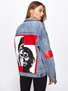 Denim Jackets Designed with Collar. Single Breasted placket. Oversized fit. Perfect choice for Casual wear. Letter, Figure design. Trend of Spring-2018, Fall-2018. Designed in Blue. Fabric has no stretch.