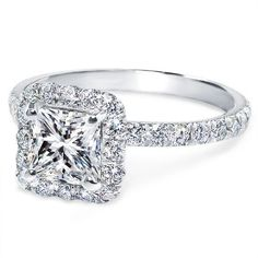 Princess Diamond Halo Engagement Ring Diamond Band