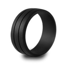 The original Enso Ring. Our obsidian (black) silicone wedding ring, from our stone collection, is our most popular ring! The elegant two line design and black color make it a classy and versatile option.